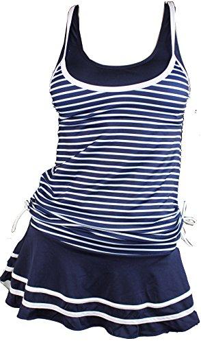 Summer Mae Damen Tankini Retro Streifen Badekleider Marineblau Gestreift M