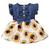 Toddler Girl Outfits Baby Sunflower Princess Dresses Denim Summer Ruffle Sleeve Clothes Jean Floral Print Skirts for Girls (Yellow1, 12-18 Months)