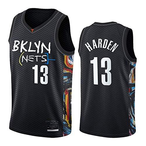James Harden Camiseta de baloncesto para hombre, Brooklyn Nets 13# 2021 New Black City Edition, camiseta de baloncesto (S-XXL)