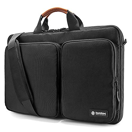 "tomtoc Original 360° Protective Laptop Shoulder Bag Compatible with 17"" – 17.3"" Dell HP Acer Asus Lenovo Notebook, Water Resistant Travel Briefcase Bag, Black"