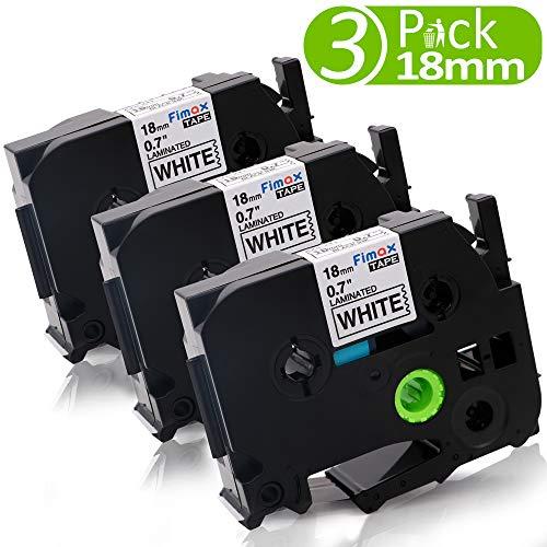 Fimax Kompatibel Schriftband als Ersatz für Brother P-Touch 18mm TZE241 PT-D400, 9600, PT-9700, PT-P700, PT-P750W, E550W Label Makers, Schwarz auf Weiß, 8m 3er