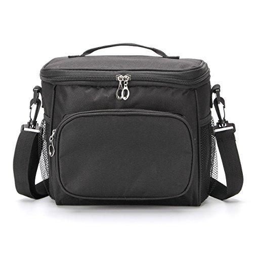 Gogogoal - Bolsa térmica aislante para almuerzo, plegable, impermeable, bolsa térmica para trabajo, escuela, picnic, camping, playa, barbacoa, 10L, color negro, Negro-10L