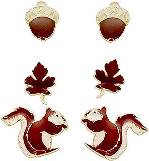Rosemarie Collections Women's Set of 3 Favorite Stud Earrings Squirrel Acorn Leaf