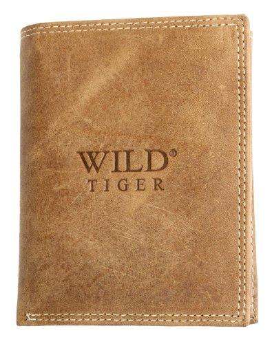 Portafoglio Wild Tiger marrone chiaro in vera pelle naturale resistente