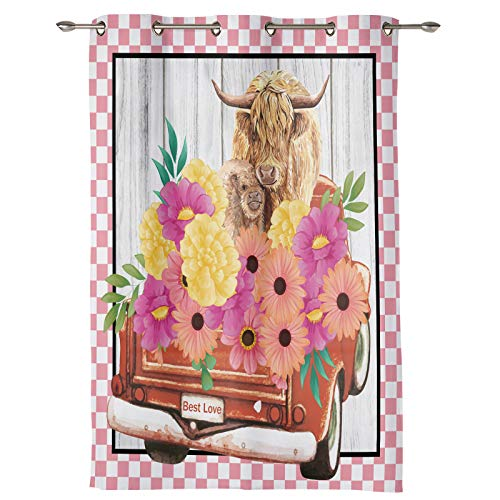 52''W x 45''H Window Curtains with Grommet for Kitchen Cafe Bedroom, Highland Cattle and Farm Blooming Floral French Door Curtains Panel Decorative Drapes(1 panel) Red Pickup Truck Pink Check