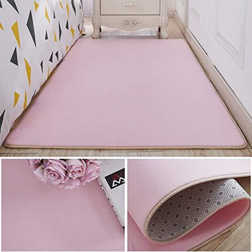 WJXBoos Tatami Bodenmatratze, Coral Velvet Kindergarten Teppich Kleinkind Kinder Spielmatte Crawling Teppiche Übungspads Baby-Teppich Bereichswolldecke-rosa 80x160cm(31x63inch)