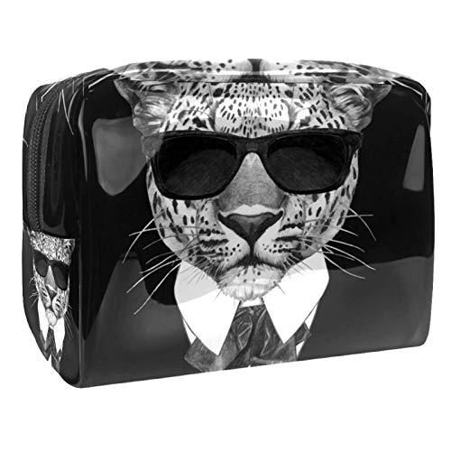 Neceser de Maquillaje Estuche Escolar para Cosméticos Bolsa de Aseo Grande Leopardo con Gafas de Sol y Corbata