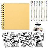 Vexko Scrapbook Bullet Journal Kit: 1 Scrapbook: [7X7 Inches] 20 Sheets, Hardcovers, Black Pages + Scrapbook Supplies: 5 Stencils, 10 Metallic Markers, 3 Sheets of Photo Corners | DIY Photo Album