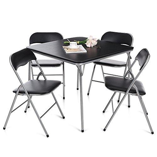 IKAYAA 5 Piece Folding Card Dining Table Chair Set, Black (Type 1)