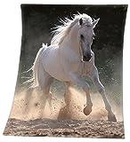 VonBueren Fleecedecke mit Pferdemotiv in 130x160cm aus 100% Polyester, maschinenwaschbar