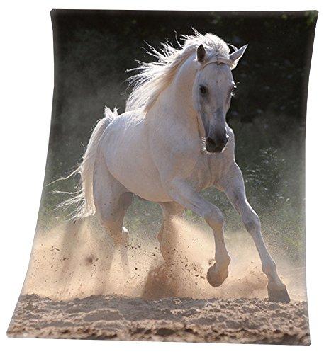 VonBueren Fleecedecke mit Pferdemotiv in 130x160cm aus 100{5c5f92e5f2779e91c6b2873efc56f19e9382e9e1d840323c5853c2b3266e083e} Polyester, maschinenwaschbar