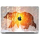 Wonder Wild Case Compatible for MacBook Air 13 inch Pro 15 2019 2018 Retina 12 11 Apple Hard Mac Protective Cover 2017 16 2020 Plastic Laptop Print Bear Silhouette Nature Sunset Animal Winter Forest