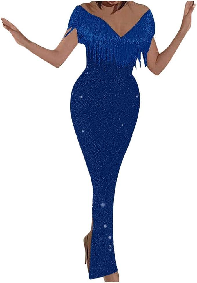 XXXL, Beige Sannysis Damen Elegant Sommerkleid Chiffonkleid Schulterfreies Vintage Kleid Abendkleid Skaterkleid Jerseykleid Hochzeit Festlich Retro Cocktail Party A Linie Knielang