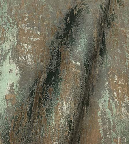 NEWROOM Tapete grün Putz Beton Vliestapete Bronze Vlies moderne Design Optik Tapete Struktur Premium Industrial inkl. Tapezier Ratgeber