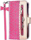 Uposao Custodia Compatibile con Samsung Galaxy S10 Plus Fiori Pizzo Flip Pelle PU con Portafoglio Magnetica Zipper Protettiva e Copertura Pieghevole con Cerniera Funzione Supporto Caso,Rose Red