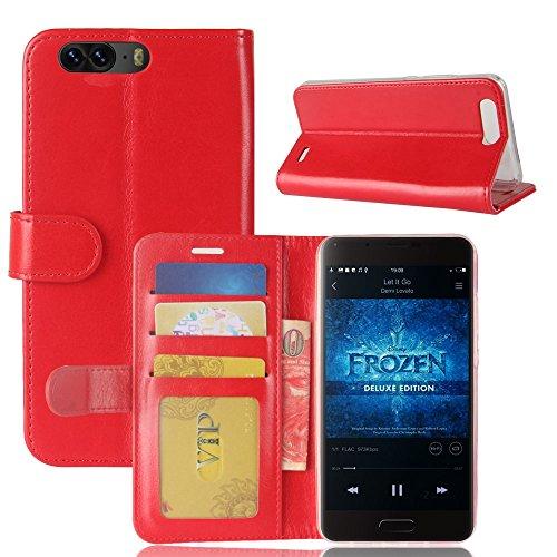 pinlu® Premium Geschäfts Art Luxus PU Leder Etui Schutzhülle Für Blackview P6 Lederhülle Flip Hülle Brieftasche Mit Stand Function Innenschlitzen Design Rot