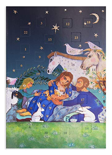 Religieuze Advent Kalender Kaart Geboorte Roger la Borde Die Cut Windows. Verpakt in een Cello tas met envelop grootte 170 x 120 mm Flittered