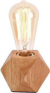 Mengjay Lampara de Mesa Moderna E27 Lampara de Escritorio de Madera Lampara de Noche de Diamante Para Hogar/Dormitorio/Sala de Estar Enchufe de La Ue Base de Madera