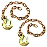 (Pack of 2) 3/8' x 35' Grade 70 Tow Safety Chains with 3/8' Forged Safety Hook