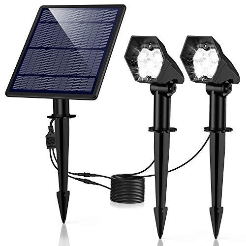 Solar Gartenleuchte Solar Strahler 2 Stück, Ultrahelle 3 Helligkeitsstufe IP65 Wasserdicht, Hocheffiziente Solar Panel Automatische EIN/Aus Solarlampe mit Erdspieß für Gärten, Bäume, Sträucher, Wand