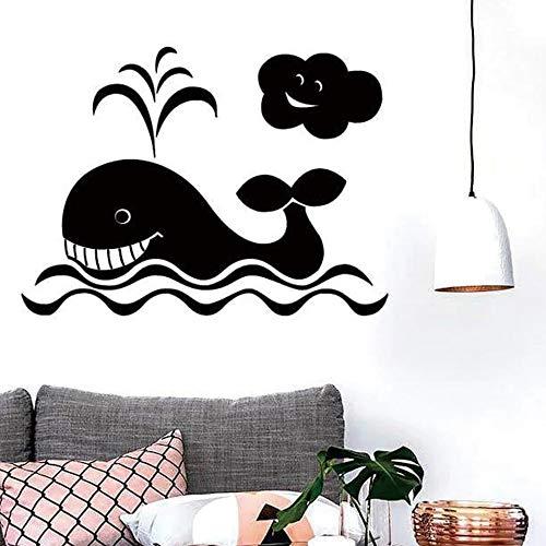 Etiqueta engomada de la pared de la ballena simple decoración del papel pintado decoración de la habitación de los niños etiqueta de la pared papel pintado autoadhesivo impermeable A3 43x58cm