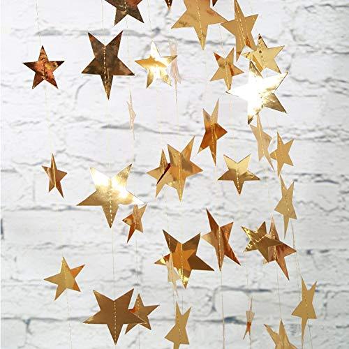 Yuccer 2 Pack Papier Girlande Dekorationen Glitter Stern Papier Kreis Punkte Hängend Deko für Hochzeit Braut Baby Duschen Geburtstag Weihnachten Party (Gold)