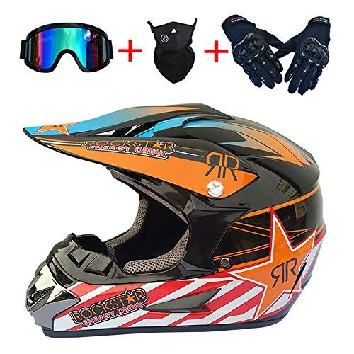 Casco Integral de Moto de Motocross para Adultos con Gafas Guantes Máscara Certificado Dot MX ATV MTB Casco Protector DH Rally Enduro Patrón de Estrella Equipo de protección,Naranja,52~53cm S