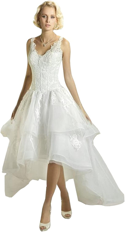 Irenwedding Women's Straps Lace Applique V Back Lace Up High Low Beach Wedding Dress