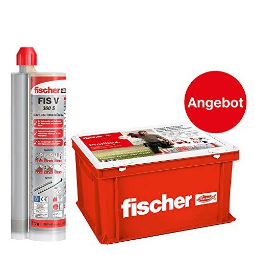 Fischer 553654 Profibox FIS V 360 S-für Standardanwendungen in Voll-/Lochsteinmauerwerk und gerissenem Beton, 20 Stück (inkl. 40 Statikmischer, 1 Handwerkerkoffer), grau