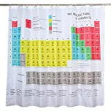 Cortina de ducha, tabla periódica de elementos de fondo de baño, cortina de ducha, poliéster grande resistente al moho, cortina para baño, decoración de baño, 180 x 180 cm