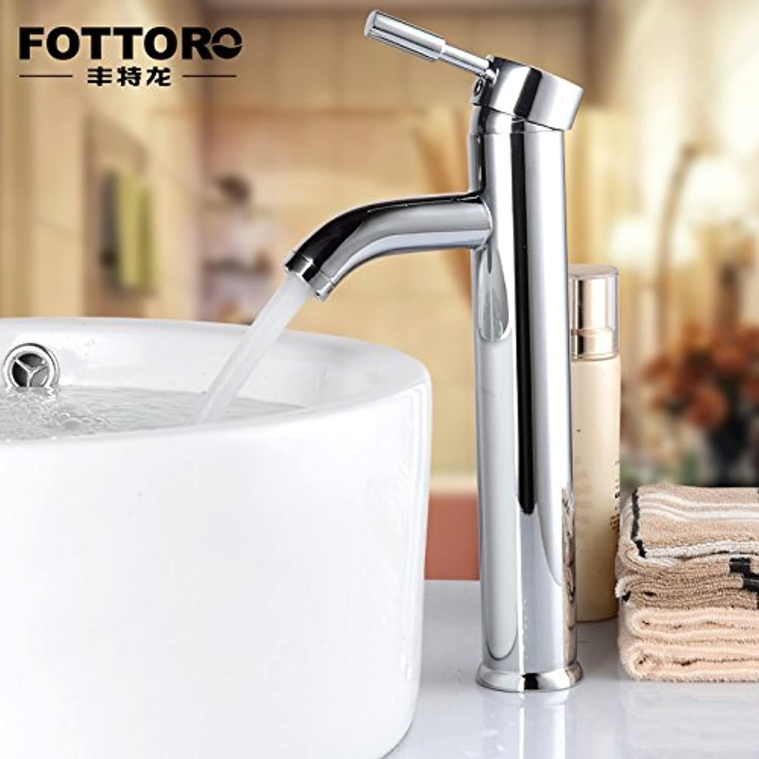 Decorry All Copper Basin Faucet Hot and Cold Taps On Stage Basin Faucet Washbasin Single Hole Faucet Heightening
