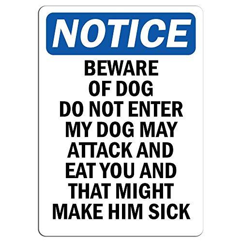 Aviso – Beware of Dog Do Not Enter My Dog May Attack calcomanía de advertencia calcomanía de advertencia para decoración de la casa ventana coche peligro señal de seguridad etiqueta calcomanía 8 x 12 pulgadas