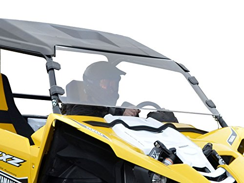 SuperATV Heavy Duty SCRATCH-RESISTANT Full Windshield for 2016-2018 Yamaha YXZ | 1/4' Thick Polycarbonate- 250x Stronger than Glass, 25x Stronger than Acrylic | XR Optic Hard Coating | Made in the USA