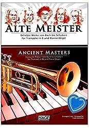 Maître ancien pour trompette en B et piano/orgue - Œuvre populaire de Bach à Schubert - Livre de partitions avec pince à partitions colorée en forme de cœur