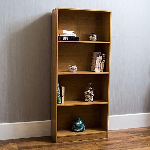 Vida Designs Cambridge 4 Tier Large Bookcase, Oak Wooden Shelving Display Storage Unit Office Living Room Furniture