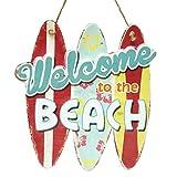アメリカン ブリキ看板 Welcome BEACH 28×29.5cm(MD064) エンボス加工 凹凸 ティンサイン メタルサイン ビンテージ看板 ガレージ サーフ 雑貨 アメリカ 雑貨 店舗用 看板 西海岸風 インテリア アメリカン雑貨