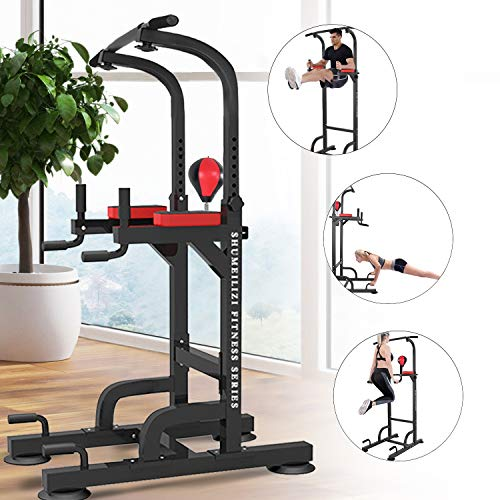 Vdaye Power Tower Workout Pull Up & Dip Station Adjustable Multi-Function Home Gym Fitness Equipment Dip Stand Workout Fitness Bar Pull up Station for Strength Training Boxing Ball (Power Tower)