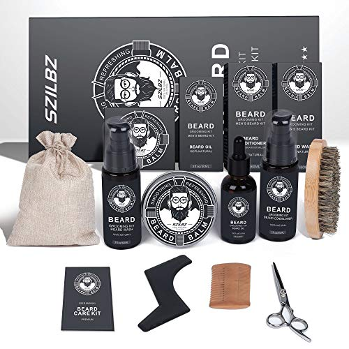 Beard Growth Kit For Men, Unique Beard Care with 100% Natural Beard Oil, Beard Balm, Beard Shampoo Wash Beard Brush& Wood Beard Comb, Beard Scissors, Best Beard Gift For Dad Husband Boyfriend