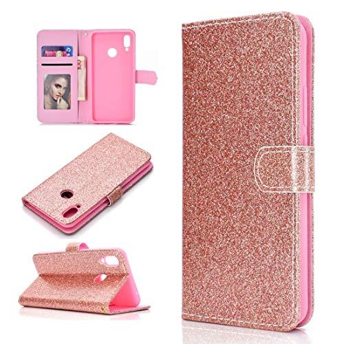 BAIYUNLONG Funda para Huawei Y6p Glitter Powder Horizontal Flip Funda de cuero con ranuras para tarjetas, soporte y marco de fotos, cartera y cordón (color oro rosa)