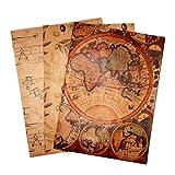 ARCA Papel de regalo vintage 3 hojas kraft 100 x 70 cm estampado con los dibujos