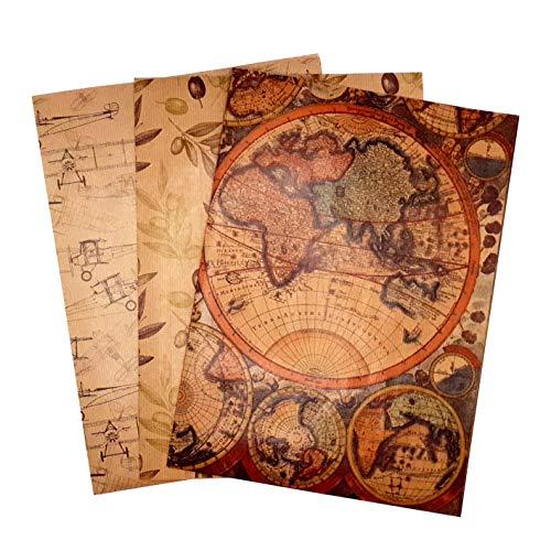 ARCA Papel de regalo vintage 3 hojas kraft estampado con los dibujos 100 x 70 cm