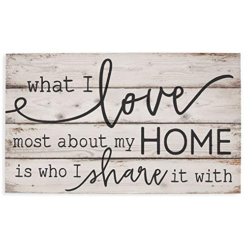 P. Graham Dunn What I Love Most About My Home White Wash 24 x 14 Inch Solid Pine Wood Pallet Wall...