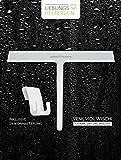 LIEBLINGS HELFERLEIN® Hochwertiger Duschabzieher [28 cm] in weiß aus Silikon zum einfachen Reinigen von Dusche, Fenster, Fliesen und glatten Oberflächen inkl. Silikon-Halterung zum Aufhängen