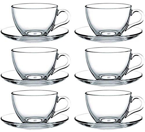 Pasabahce - 12 pezzi set con 6 tazzine per espresso e 6 piattini Basic (max. 80 ml)