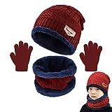 Yutdeng Niños Conjunto de Sombreros de Invierno y Bufanda Guantes Invierno Caliente Gorro de Beanie Cálido Elástico on Forro de Lana Niños Niñas