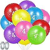 Set de Globos de Cumpleaños 4 Años, Incluye 30 Globos de Aniversario de 4 Años Globos de Látex de Estella de 12 Pulgadas y 2 Cintas de Globos de Gris Plateado Brillante para Decoración de Fiesta