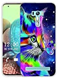 Sunrive Kompatibel mit Asus Zenfone Selfie ZD551KL Hülle Silikon, Transparent Handyhülle Schutzhülle Etui Hülle (X Katze 1)+Gratis Universal Eingabestift MEHRWEG