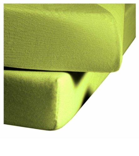 Fleuresse Comfort Elasthan Jerseyspannlaken, für 90 x 200 bis 100 x 220 cm Matratzen (bis Höhe 25 cm), apfelgrün