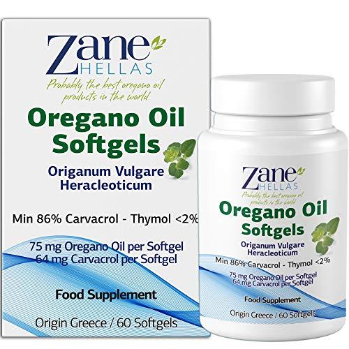 Zane Hellas High Quality Oregano Oil Softgels. Extra Strength. Every Softgel Contains 15% Greek Essential Oil of Oregano. 64 mg Carvacrol per Softgel. 60 Softgels.