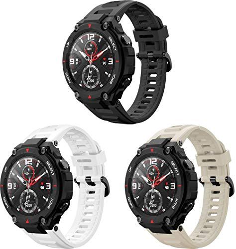 Correa de Reloj de Silicona Suave Compatible con Amazfit T-Rex, Repuesto Ideal (3PCS A)